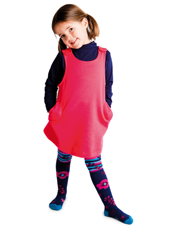 Country Kids Graphic Flower Tights Navy Lifestyle