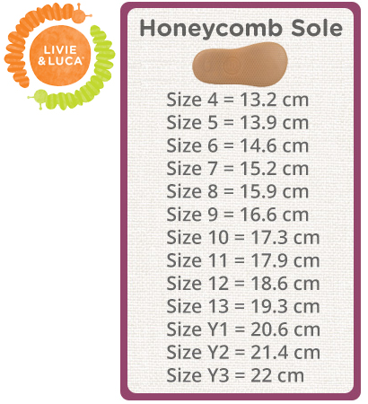 Livie & Luca Size Chart Honeycomb Sole