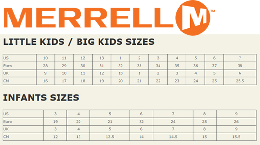 merrell shoes size chart guides