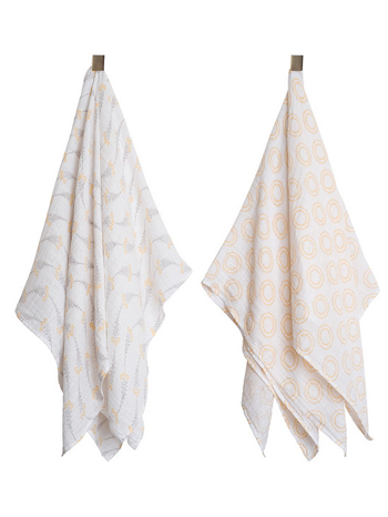 Bebe au Lait Muslin Swaddle Blanket 2 Pack Wildflower + Halo