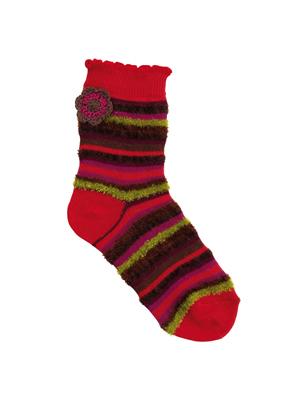 Country Kids Crochet Flower Sock Red
