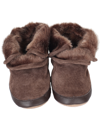 Robeez Cozy Ankle Booties Brown (Soft Soles)