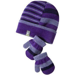 SmartWool Baby Split Stripe Hat Mitt Set Grape