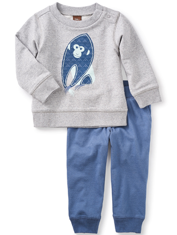 Tea Collection Year of the Monkey Baby Outfit (Baby Boys)