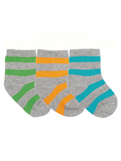 Country Kids Bold Stripe Organic 3 Pair Sock Set Brights